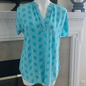 Escapada Turquoise/White short sleeved blouse M